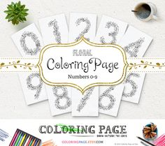 SALE Floral Numbers Coloring Page Adult Coloring Printable