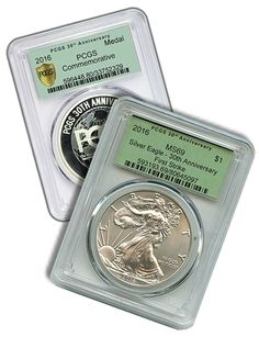 WIN these 2 2016 Silver Eagle PCGS MS-69 30th Anniversary First Strike in Retro Green Holder  PCGS 30th Anniversary Commemorative Medal (mintage of 5,000 pieces)