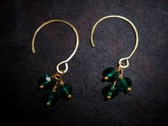 Green Crystals and Hammered Brass Demi Hoop by FerylDesigns, $24.00