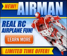 Airman is the new remote controlled aviation toy that makes flying more fun than ever before! Available in four colors: Radical Red, Bombastic Blue, Outrageous Orange, Electric Yellow.