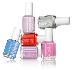 Essie Spring 2013 Collection coming in March! Avenue Maintain (blue) Go Ginza (pale pink), Maximillian Strasse Her (grey), Madison Ave-hue (pink), Bond With Whomever (lilac), Hipanema (red).