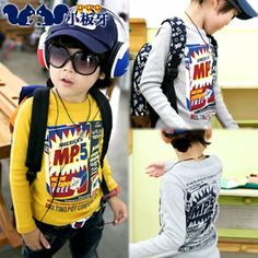 2013 autumn korean children child baby boy letters printed long-sleeved t-shirt bottoming shirt 6673 only $7.71USD a Piece