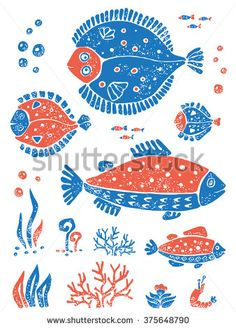 stock-vector-vector-underwoter-world-in-lino-style-set-of-fishes-and-algae-for-design-and-illustration-375648790.jpg (338×470)