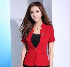 Novedad Red diseño de uniforme de manga corta de verano 2015 para mujer chaquetas Outwear chaquetas mujeres delgadas en la oficina Blaser femenino(China (Mainland))
