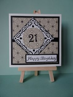 The challenge over at Simon Says Stamp is 'it's hip to be square' – so I have… 21st Birthday Cards, Happy Birthday, Birthday Sentiments, Simon Says Stamp, Monochrome, Challenge, Black And White, Gifts, Handmade