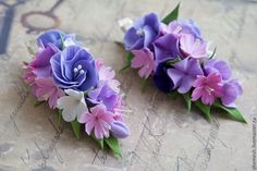 Купить Зажим для волос - разноцветный, зажим для волос, заколка, цветы ручной работы, украшения для волос