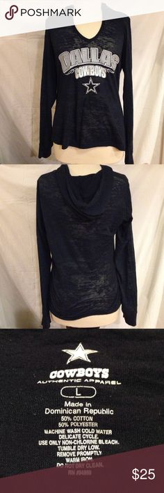 "Dallas Cowboys Super Sheer Hooded Top This top is in great condition, no stains, tears, or visible signs of wear, It is very thin and sheer. would be great for a workout shirtIt is Stretchy and form fitting. this Top could also be leverage for those ladies that have Cowboys Fan Boyfriends or husbands, to get them to buy your clothing bundle. 😂. Just add this baby to the top and say "" See hon, I am getting this sexy Cowboys shirt to wear."" Cowboys Authentic Apparel Tops Tees - Long Sleeve"