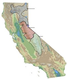 California Snow Region Map 0% snow pack at end of may 2015