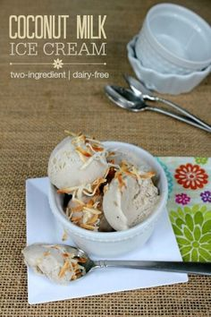 Coconut Milk Ice Cream -- This 2-ingredient dessert might be the easiest dairy-free ice cream recipe EVER! Dairy-free, gluten-free, and Pale...