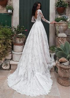 Buy discount Gorgeous Tulle Bateau Neckline A-line Wedding Dresses With Lace Appliques & Beadings at Elven Wedding Dress, Bohemian Style Wedding Dresses, Wedding Dress Trends, Long Wedding Dresses, Wedding Gowns, Fall Wedding, Wedding Ideas, Long Sleeve Wedding, The Dress