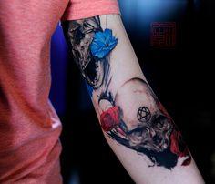 Beautiful Skulls. Wang - Tattoo Temple HK
