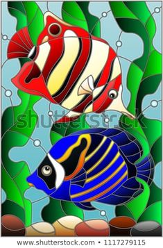 Illustration in stained glass style with a pair bright fishes on the background of water and algae Glass Painting Patterns, Stained Glass Patterns Free, Glass Painting Designs, Stained Glass Designs, Stained Glass Art, Bottle Painting, Bottle Art, Bright Colors Art, Underwater Painting