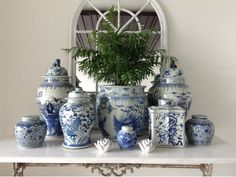 deecorating with blue and white giner jars | Verandah House, Interior Design, Blue and White Decorating
