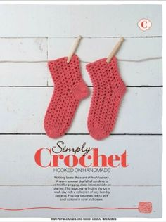Simply Knitting+Simply Crochet+Knitting Magazine+Festive Knits to Gift 2011 Simply Crochet - Issue May Simply Knitting, Simply Crochet, Knitting Magazine, Crochet Magazine, Crochet Socks, Crochet Top, Coral, Pretty, Handmade