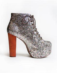 Buy Jeffrey Campbell Lita Platform Boot in Multicolour Glitter at Motel Rocks