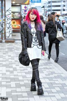 "punk / rocker fashion ... Lisa | ""Risa"" | ""Lisa13"", 20 years old, guitarist for the band ""Moth In Lilac"", & a Harajuku fashion icon. || she's featured in a short documentary called ""Harajuku Girl: Hardcore Dreams"" https://www.youtube.com/watch?v=aDsGx43CZzA || 18 May 2015 | #Fashion #Harajuku (原宿) #Shibuya (渋谷) #Tokyo (東京) #Japan (日本)"