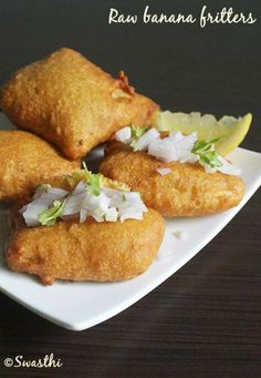 Raw Banana Fritters, deep fried and stuffed with onion for that extra crunch.step by step pictures. Veg Recipes, Indian Food Recipes, Snack Recipes, Healthy Recipes, Snacks, Kerala Recipes, Ethnic Recipes, Healthy Food, Organic Cooking