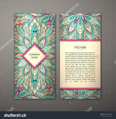 Flyer With Floral Mandala Pattern And Ornaments. Vector Flyer Oriental Design Layout Template, Size. Islam, Arabic, Indian, Ottoman Motifs. Front Page And Back Page. Easy To Use And Edit. - 403685689 : Shutterstock