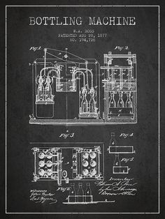 1877 Bottling Machine patent - Charcoal by Aged Pixel Pen Drawings, Drawing Sketches, How To Make Oil, Patent Drawing, Blue Prints, Brew Pub, Cool Inventions, Patent Prints, Science And Technology
