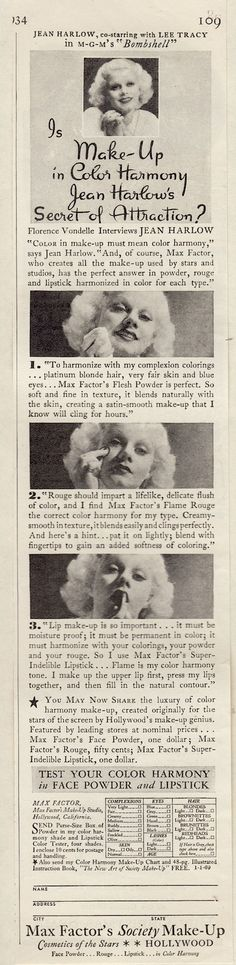 JEAN HARLOW ad for MAX FACTOR Society Make-up 1930's (minkshmink)