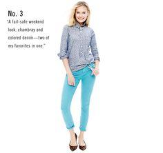 Women's Clothing - Looks We Love - J.Crew  chambray shirt + colored denim + leopard flats