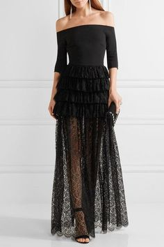 Alessandra Rich - Off-the-shoulder Ruffled Guipure Lace And Cady Gown - Black - IT