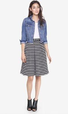 striped high waist full midi skirt from EXPRESS