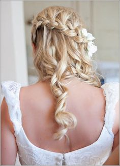 wedding+hairstyle+with+waterfall+braid