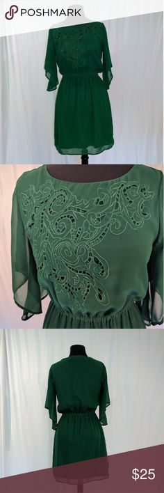 Gianni Bini chiffon dress Lovely Gianni Bini Chiffon dress in green. I bought this dress when I was working at Dillard's and wore it for dinners and to work. It's the ultimate day to night dress!! It's in fantastic condition. Gianni Bini Dresses Midi
