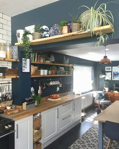 ✔️ 86 Popular Kitchen Remodeling Trends You Can Have In Your Own Homes 47 Decor Home Decor Kitchen, New Kitchen, Kitchen Dining, Kitchen Shelves, Kitchen With Plants, Open Kitchen Cabinets, White Cabinets, Country Kitchen, Kitchen Interior