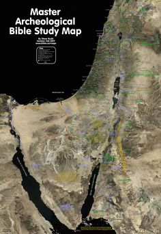 Bible Maps: Master archeological bible study map of the promised land. Tour Map of Israel: Israel