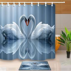 Curtains, Drapes & Valances 3d White Swan Lake 8 Shower Curtain Waterproof Fiber Bathroom Windows Toilet