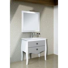 Mueble de baño BLANCO-PLATA con pata isabelina de 80 cms