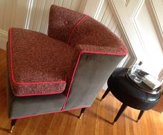 RESERVED FOR taao2010 / Armchair MC Mod 1950s New Upholstery Grey Velvet/Heather Tweed/Hot Pink Welting Retro Vintage Mad Men by FishInTheAtticStudio on Etsy https://www.etsy.com/listing/247322400/reserved-for-taao2010-armchair-mc-mod
