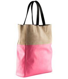H GB | Bag £14.99  Imitation leather bag with suede details and two handles. Size 38x40 cm.  100% imitation leather
