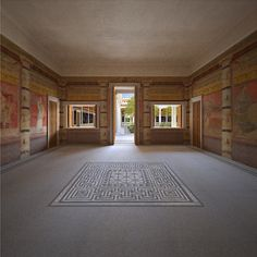 View of the south wall of room H opening into the peristyle    Villa reconstruction 2, Pompeii, Italy on Behance