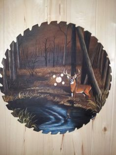 Deer saw blade painting by Anne Penman