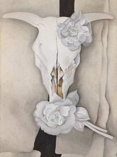 Image result for georgia o'keeffe skull and flower