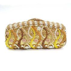 in golden color, fashion crystal clutch bag, luxury evening clutch , stunning~~