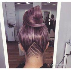 Undercut pastel pink triangle hair
