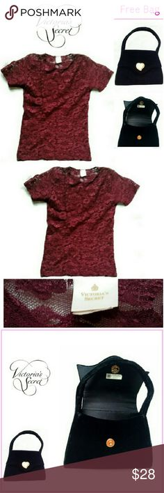 """VICTORIA'S SECRET LACE TOP & EVNING BAG (Stock photo only used for similarity) VICTORIA'S SECRET MERLOT COLOR LACE TOP & FREE NEW BAG *.  MERLOT WINE COLOR LACE TOP *.  100% NYLON W/STRETCH *.  CHEST 17""""/L 23"""" *.  SIZE SMALL EVENING BAG (NEW) *.  BLACK VELVET OUTSIDE *.  GOLD METAL HARDWARE (HEART) *.  SNAP CLOSURE / INSIDE POUCH *.  L6.5"""" X W8"""" BOTH BEAUTIFUL. EXTRA SURPRISE TOP INCLUDED! DONT ASK ME...ITS A SURPRISE! Victoria's Secret Tops Camisoles"""