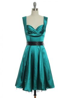 Satin Scene Stealer Dress in Green | Vintage, Retro, Indie Style Dresses