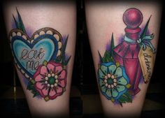 Girly and flirtatious Eat me and Drink me tattoos from Alice in Wonderland