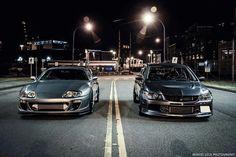 Toyota Supra or Mitsubishi Lancer EVO? Toyota Supra, Tuner Cars, Jdm Cars, Nissan, Evo 9, Mitsubishi Lancer Evolution, Car Memes, Street Racing, Import Cars