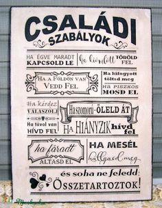 """""""Családi szabályok ..."""" idézetes falikép, táblakép (vintagedesign) - Meska.hu"""