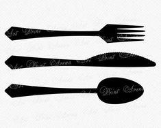 svg spoon fork knife silhouette restaurant cricut dish etsy dxf eps sold