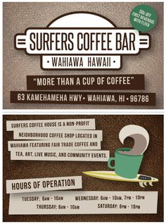 A 4x6 flyer as marketing for our new Coffee Bar in Wahiawa, HI, opened by the humanitarian surf organization called Surfing The Nations. I designed the logo, as well as the brochure and used Adobe Illustrator to create this. Stoked to be part of a positive transformation in this community!  #elementedenartsearch