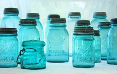 One of my favorite things in the universe: blue Ball jars (with original tops of course). You can use them for drinking, just for looks, vases, turn them into solar lamps, use them for desserts. They're awesome! Vintage Mason Jars, Blue Mason Jars, Vintage Bottles, Antique Bottles, Antique Glass, Antique Dishes, Vintage Glassware, Ball Canning Jars, Ball Jars