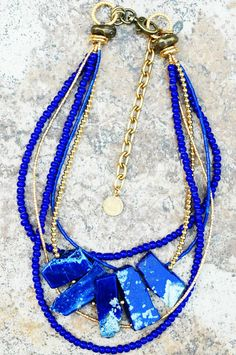 Lapis, Cobalt And Gold Multi-Strand Necklace