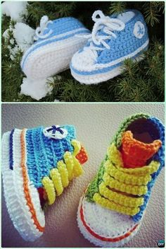 Crochet Baby Converse Booties Free Pattern- #Crochet Ankle High Baby #Booties Free Patterns